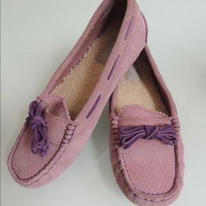 UGG Meena pink suede/sheepskin slip on loafers